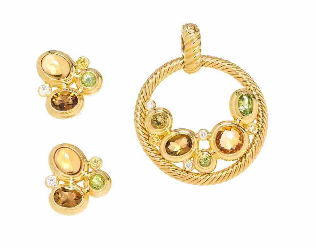 * An 18 Karat Yellow Gold and Multigem 'Mosaic'