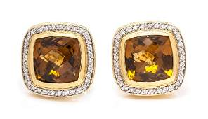 A Pair of 18 Karat Yellow Gold Citrine and Diamond