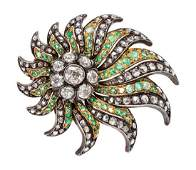 A Victorian Silver Topped Gold Diamond and Emerald