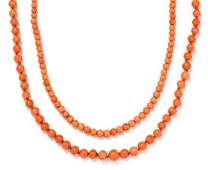 A Collection of Coral Bead Necklaces 5030 dwts