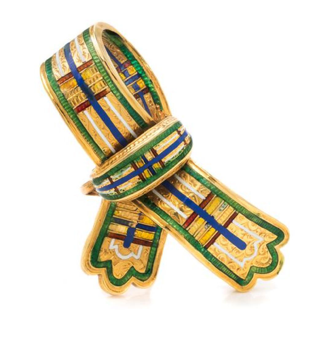A Victorian Yellow Gold and Polychrome Enamel Ribbon
