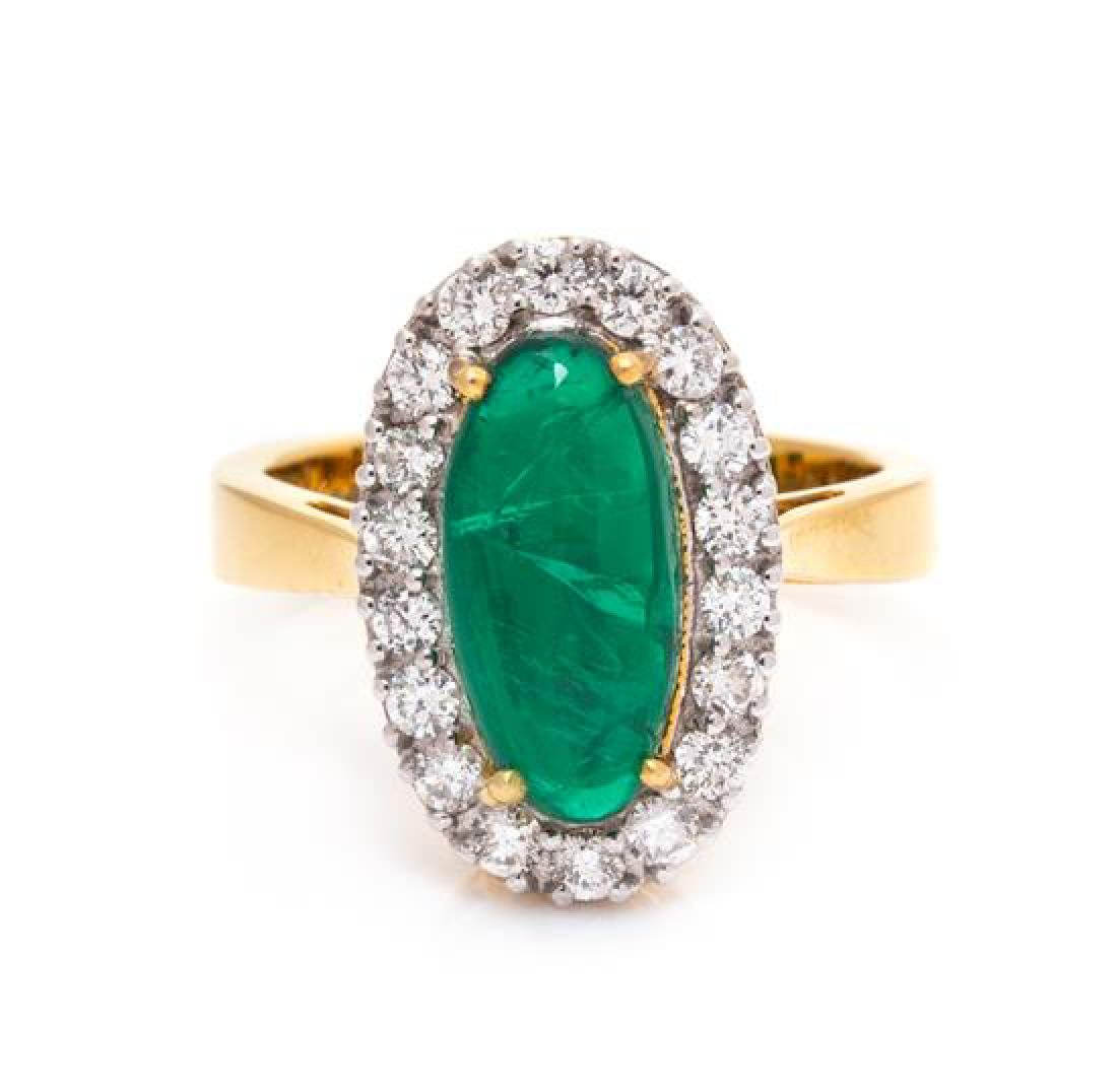 An 18 Karat Yellow Gold, Emerald and Diamond Ring, 4.10