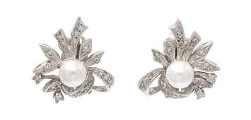 A Pair of White Gold Cultured Pearl and Diamond