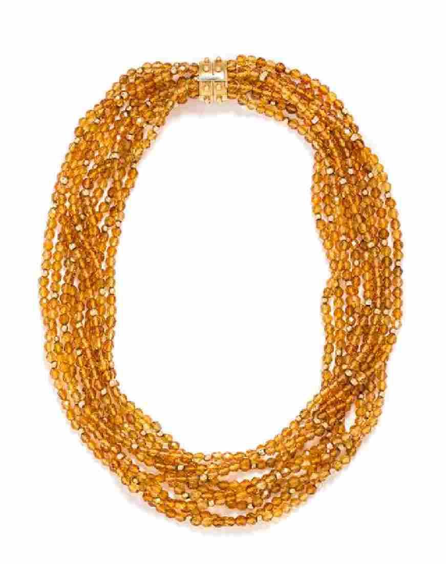 An 18 Karat Yellow Gold and Citrine Multistrand