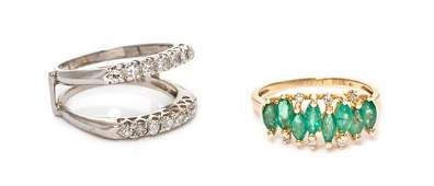 A Collection of 14 Karat Gold, Diamond and Emerald