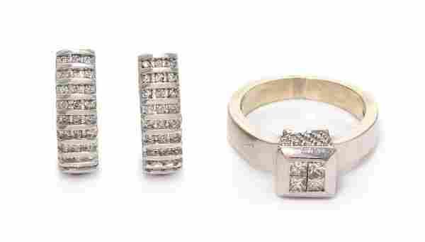 * A Collection of 14 Karat White Gold and Diamond