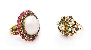 * A Collection of Vintage Yellow Gold, Diamond, Enamel