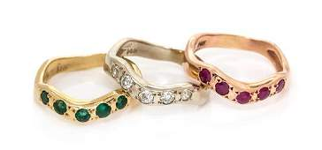 A Collection of 14 Karat Gold and Gemstone Stacking