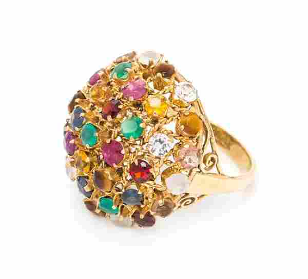 * A 14 Karat Yellow Gold and Multigem Dome Ring, 4.20