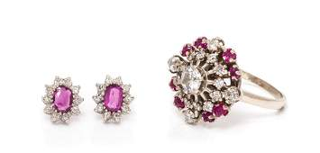 A Collection of 14 Karat White Gold, Ruby and Diamond
