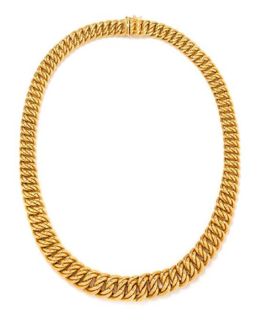 * A 14 Karat Yellow Gold Necklace, Italian, 29.70 dwts.