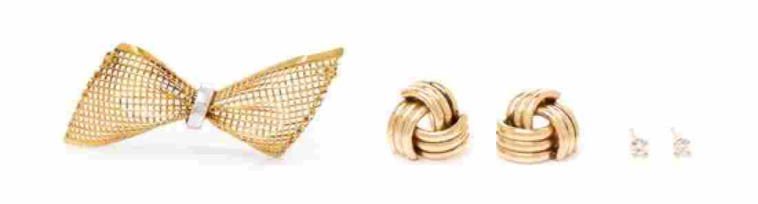 A Collection of Gold and Diamond Jewelry, 5.60 dwts.