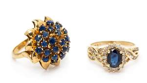 * A Collection of 14 Karat Yellow Gold and Sapphire