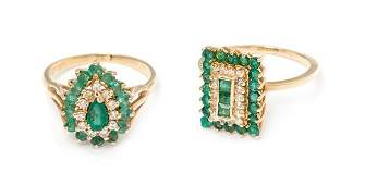 A Collection of 14 Karat Yellow Gold Emerald and