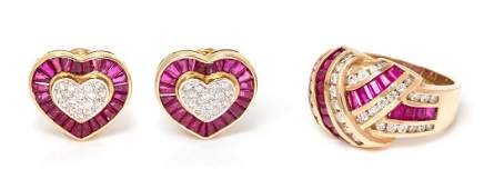 A Collection of 14 Karat Yellow Gold Ruby and