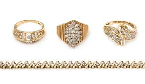 * A Collection of Yellow Gold and Diamond Jewelry,