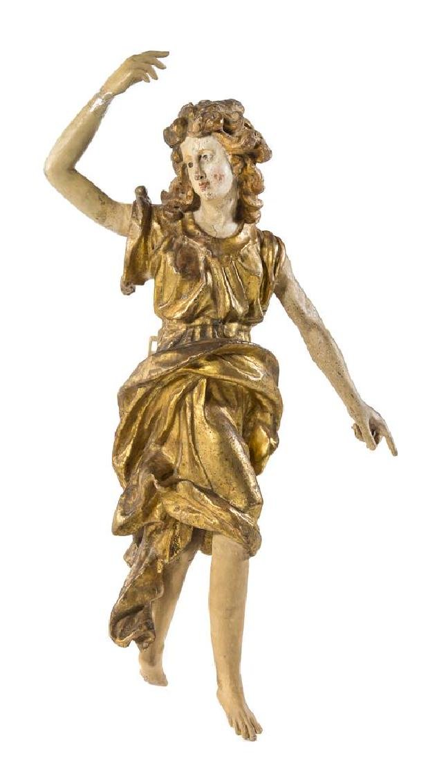 An Italian Painted and Parcel Gilt Figure