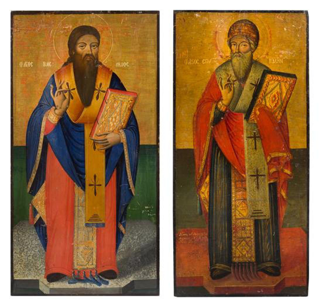 A Pair of Eastern European Ecclesiastical Painted