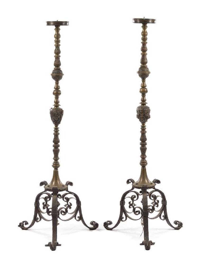 A Pair of Neoclassical Brass Torcheres
