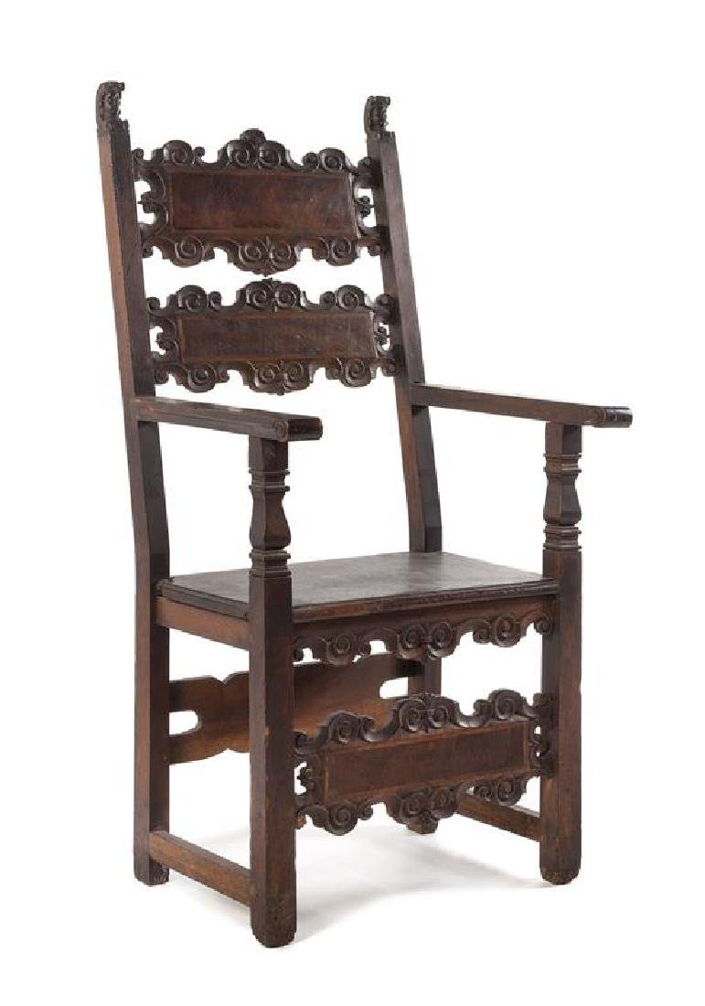 An Italian Baroque Walnut Armchair