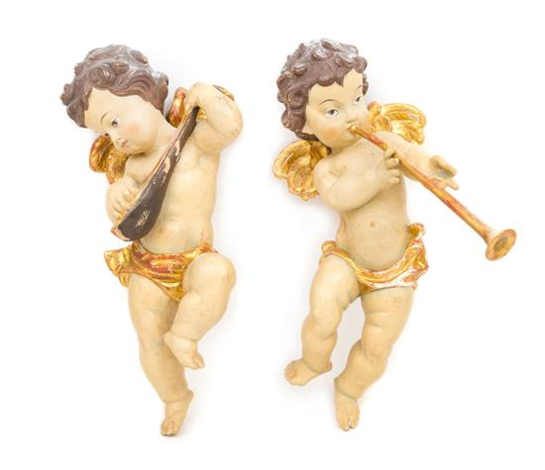 Two Painted and Parcel Gilt Figures