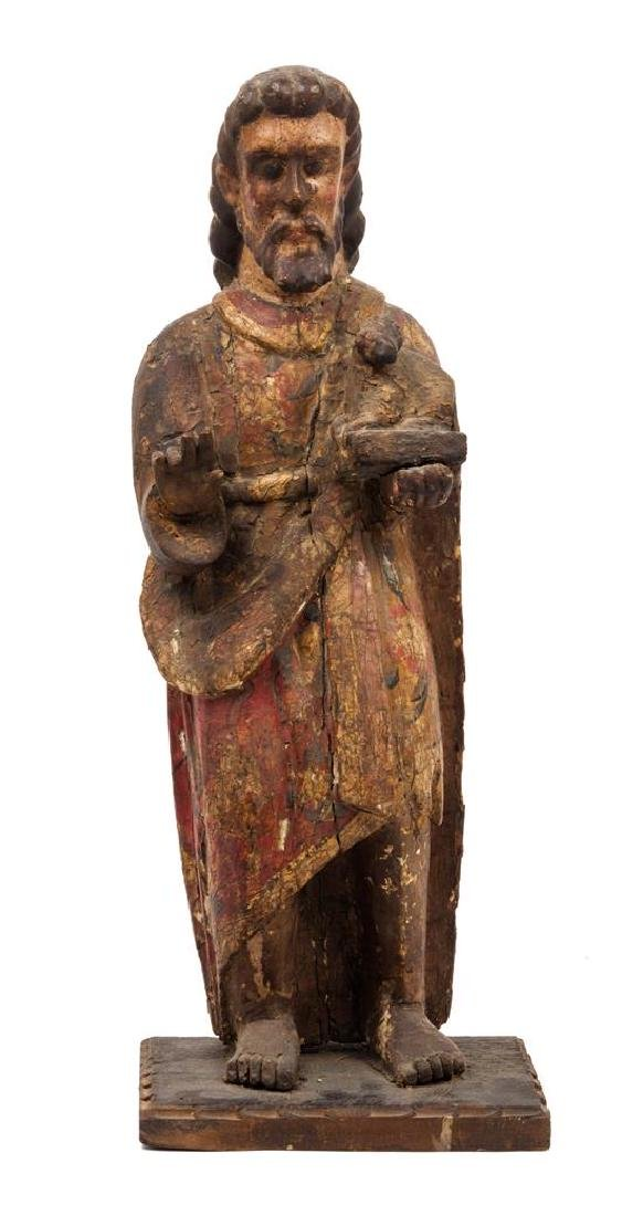 A Mexican Painted and Carved Wood Figure of Saint John