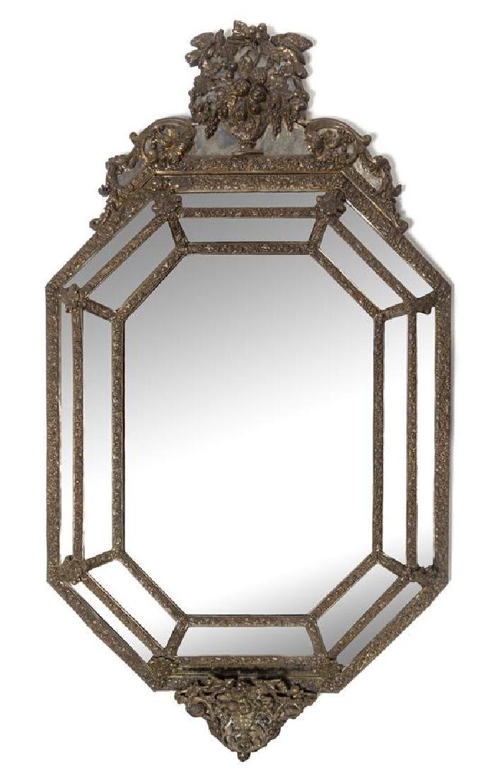A Dutch Baroque Style Brass Mirror