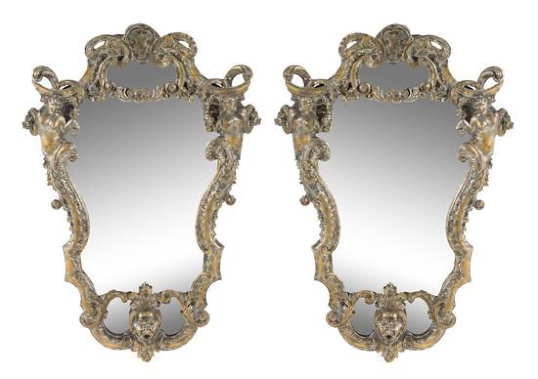 A Pair of Rococo Style Painted and Giltwood Mirrors