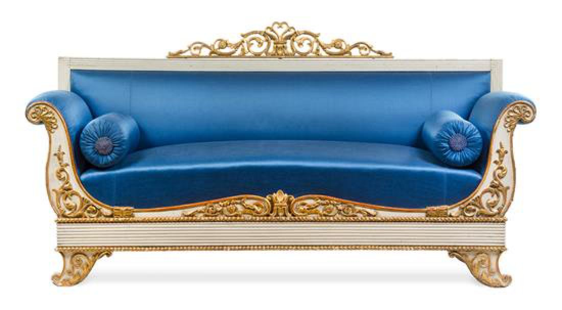 An Italian Painted and Parcel Gilt Sofa