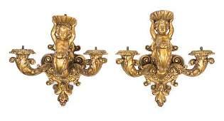 A Pair of Italian Giltwood Three-Light Sconces