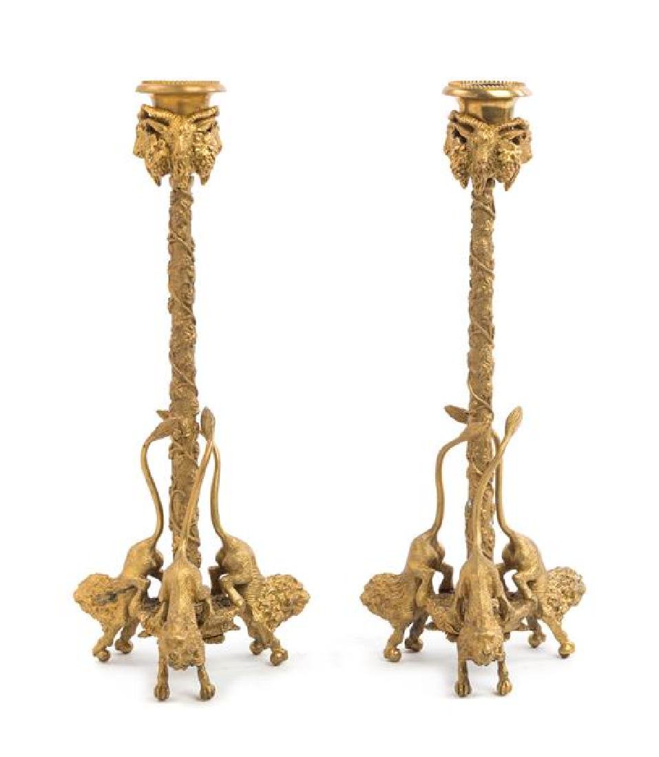 A Pair of Continental Gilt Bronze Candlesticks