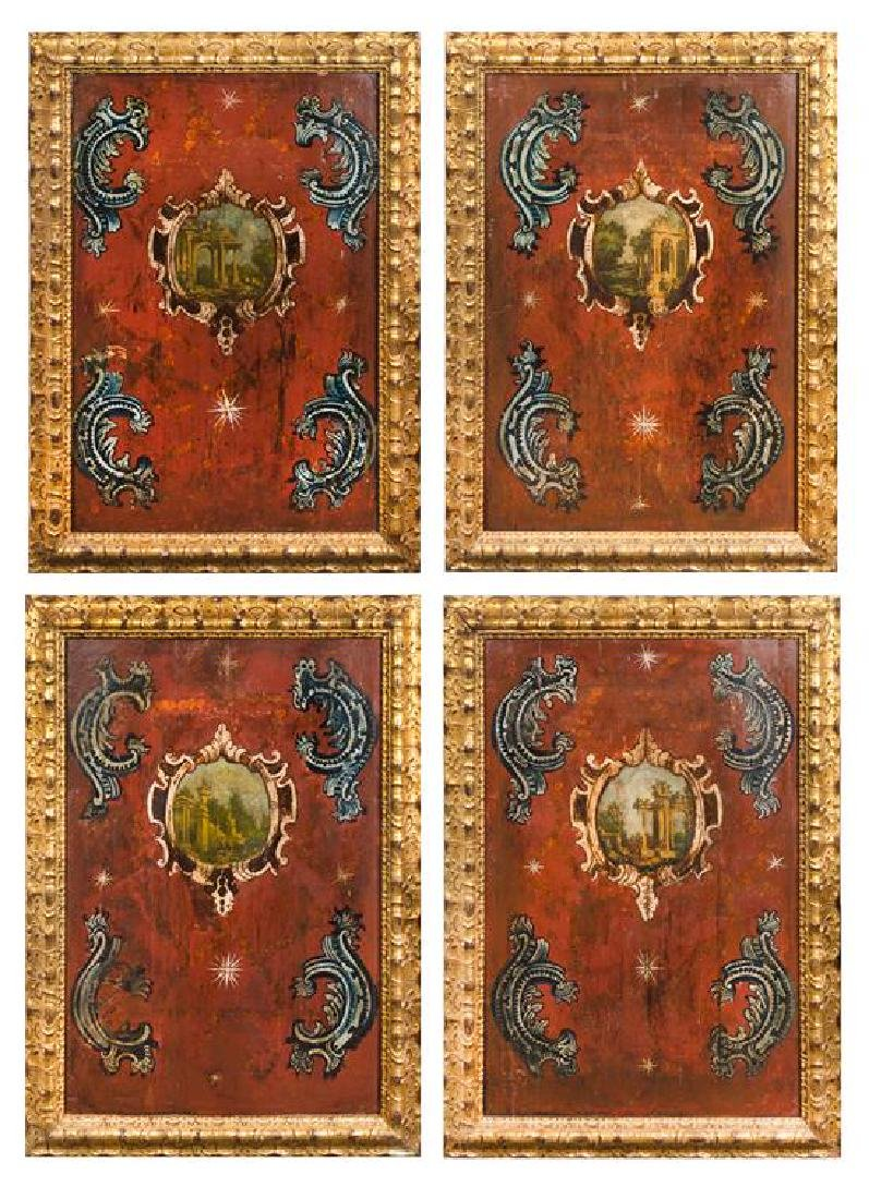 A Set of Four Italian Painted Panels