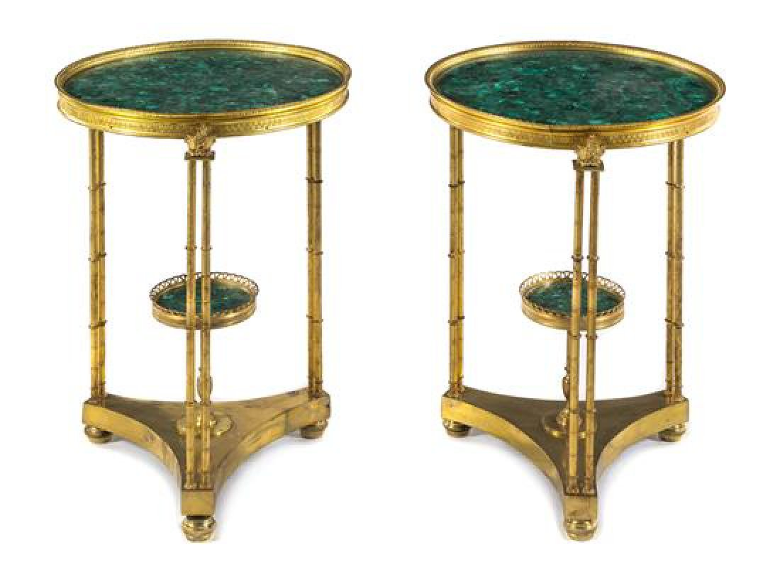 A Pair of Neoclassical Gilt Bronze and Malachite