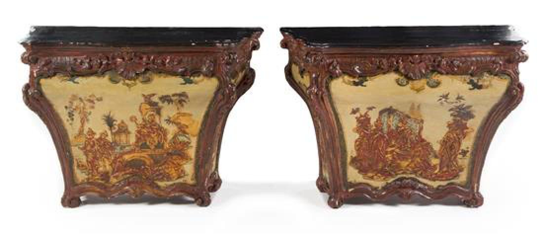 A Pair of Venetian Painted Pedestal Cabinets