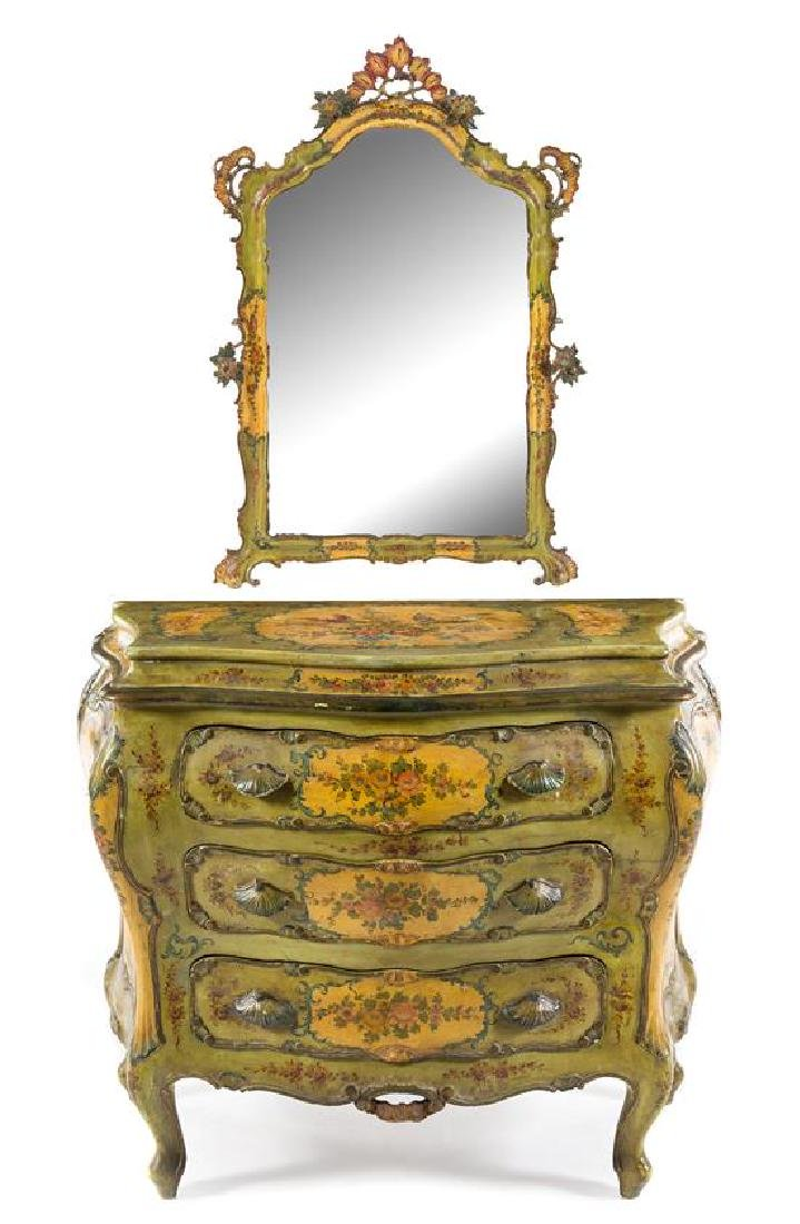 A Venetian Style Painted Commode and Mirror