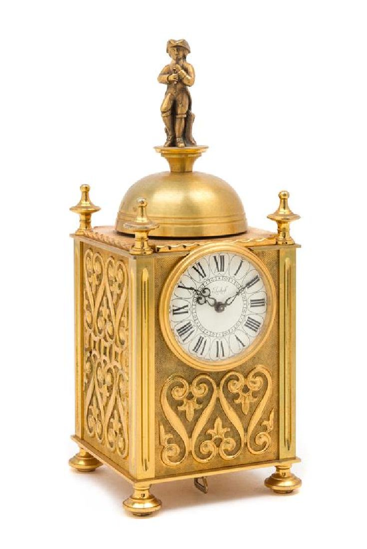 A Swiss Gilt Bronze Musical and Mechanical Clock