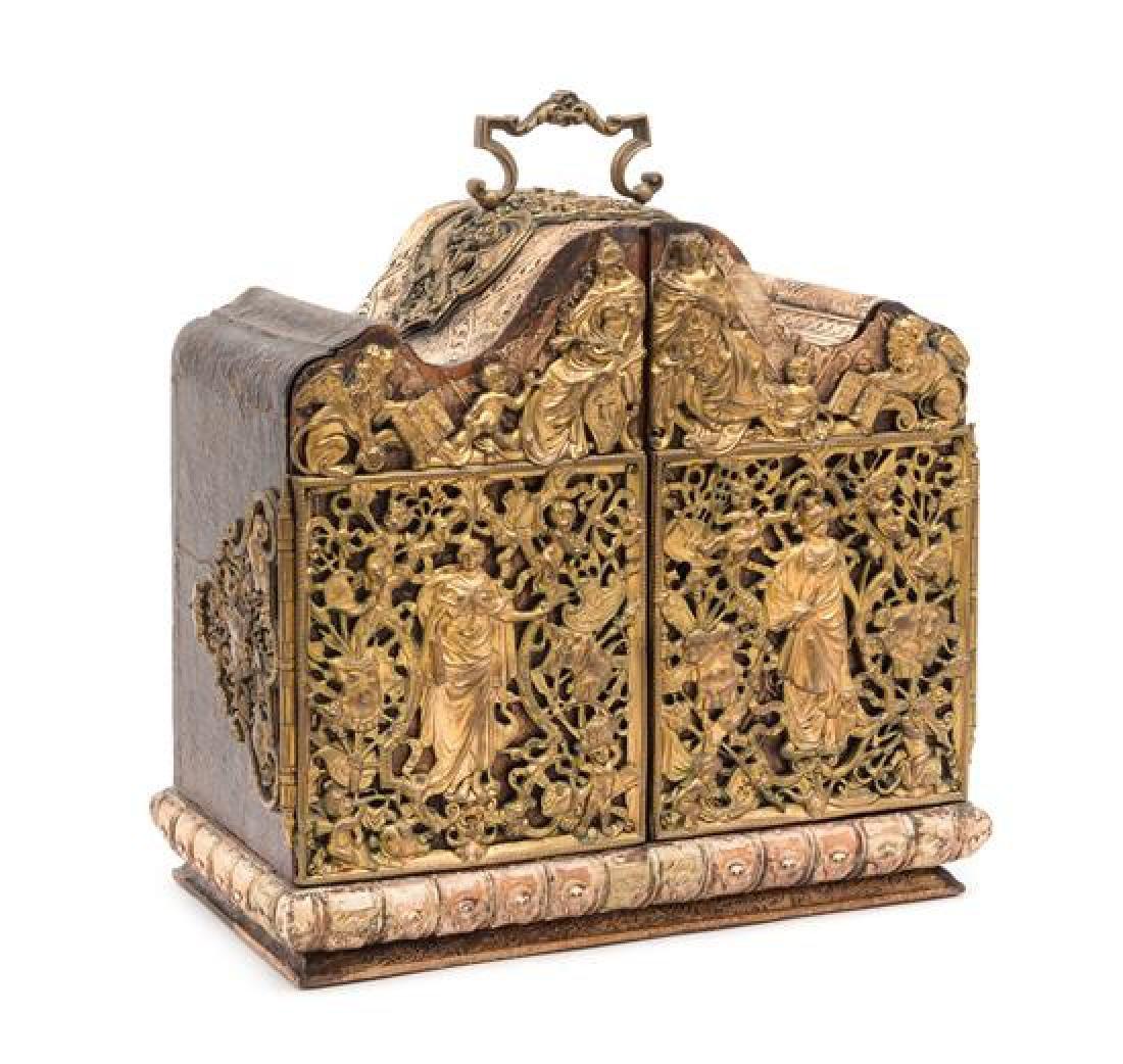 A Swiss Brass Mounted Table Casket