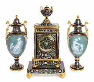 A Meissen Porcelain Pate-sur-Pate Four-Piece Clock