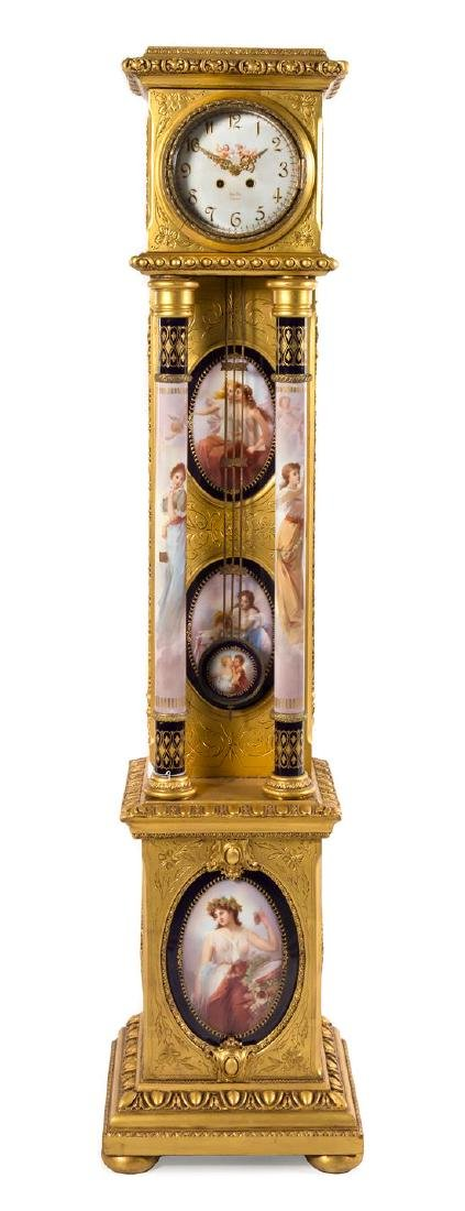 A Vienna Porcelain and Giltwood Tall Case Clock Height
