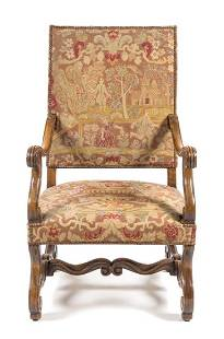A Henry II Style Walnut Library Chair Height 43 14