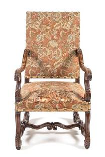 A Henry II Style Walnut Library Armchair Height 44