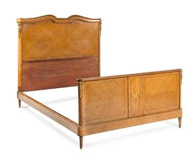 A Louis XVI Style Burlwood and Marquetry Bed Height of