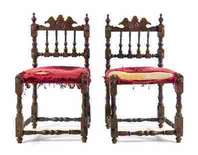A Pair of French Oak Side Chairs Height 35 38