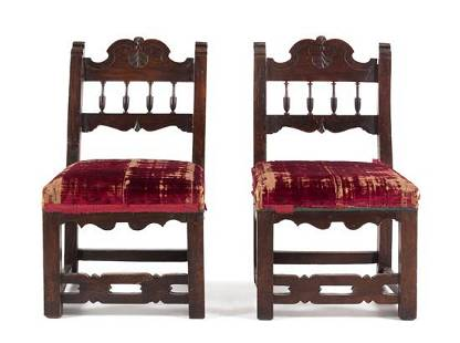 A Pair of French Walnut Side Chairs Height 31 inches