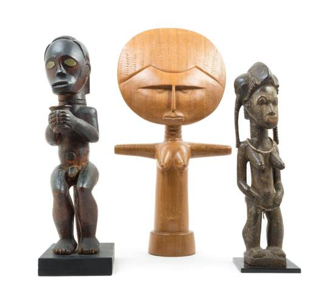 * A Group of Three Wood Figures Height of tallest 24