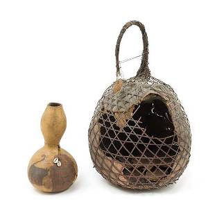 An African Gourd Basket Height 22 12 inches