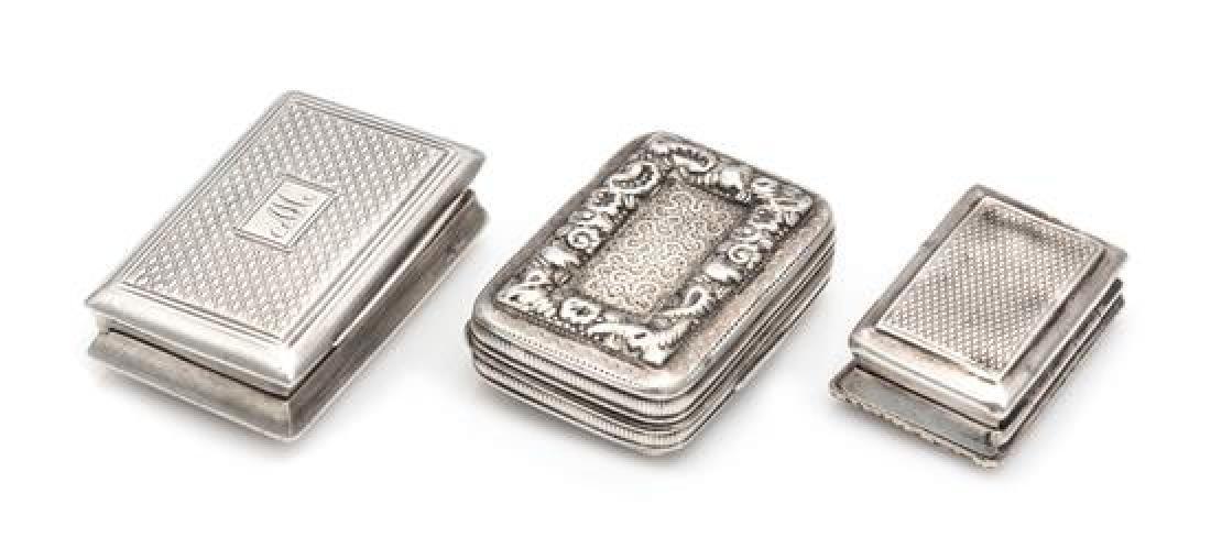 Three Georgian Silver Vinaigrettes