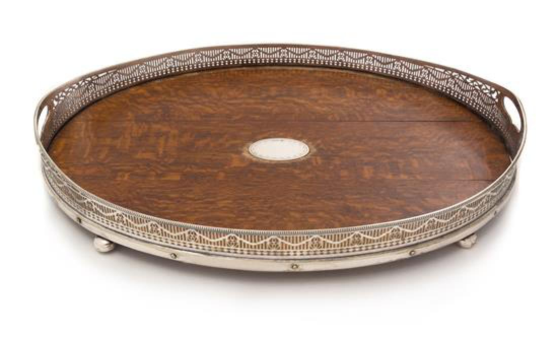 A Victorian Oak, Silver-Plate and Silver Serving Tray