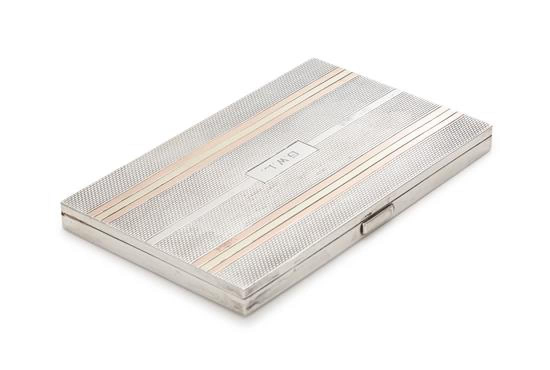 An English Silver and 14-Karat Gold Cigarette Case