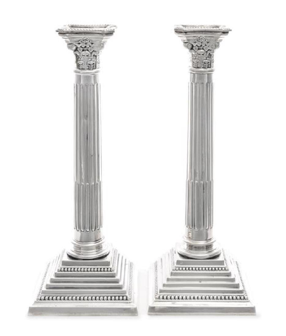 A Pair of English Silver-Plate Candlesticks
